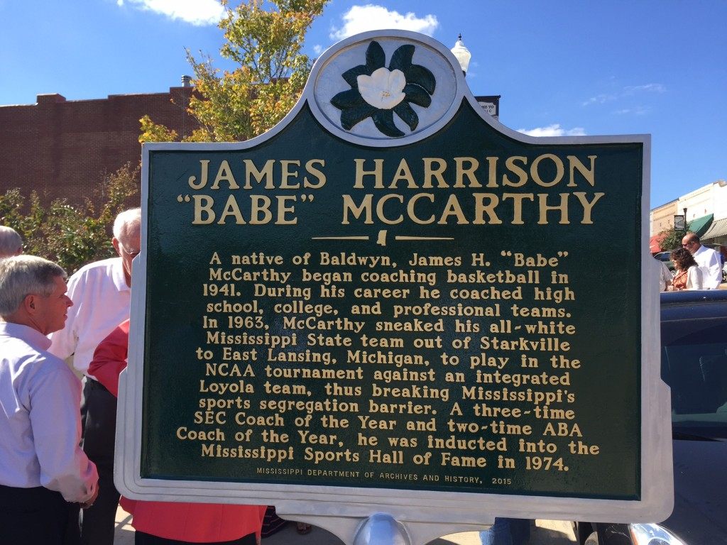 A historical marker now resides on Main Street in Baldwyn, Mississippi, recognizing Babe McCarthy.